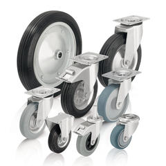 Wheels and casters with standard solid rubber tires and rubber tread