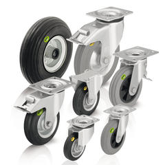 Wheels and casters with soft rubber tires and two-component solid rubber tires