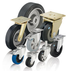 Heavy duty wheels and casters with elastic solid rubber tires