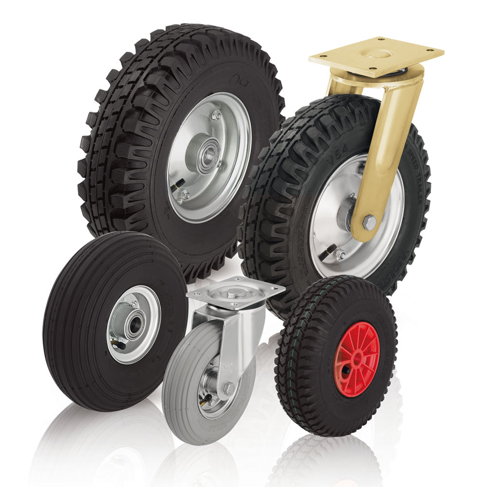 Wheels and casters with pneumatic tires