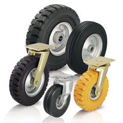 Heavy duty wheels and casters with super-elastic solid rubber tires